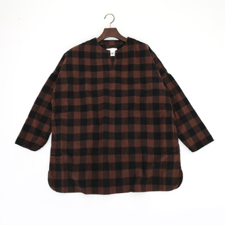 GS430301key neck pullover shirt BROWN CHECK