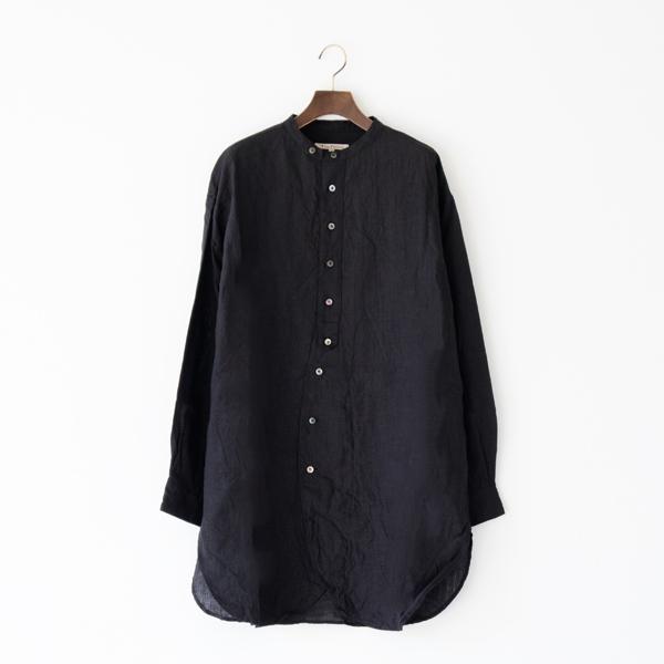 リネン チュニックシャツ(BLACK)