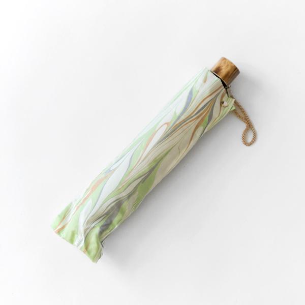 晴雨兼用 折畳み傘 墨流しマーブル(若葉 50cm 8本骨 )
