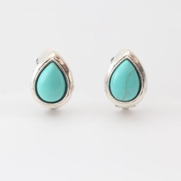 イヤークリップ 天然石(3889N Silver Turquoise)