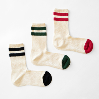 COTTON LINE CREW SOCKS WOMEN