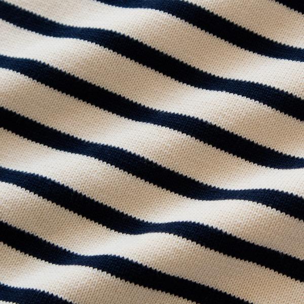 洗えば洗うほどに編み目が締まり、ドライタッチに変化していきます(ECRU/MARINE)