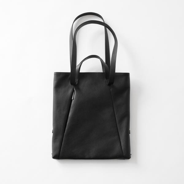 レザースモールトート loop handle BLACK