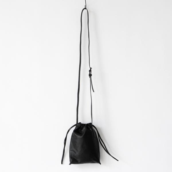 レザー巾着 cell phone bag drawstring BLACK