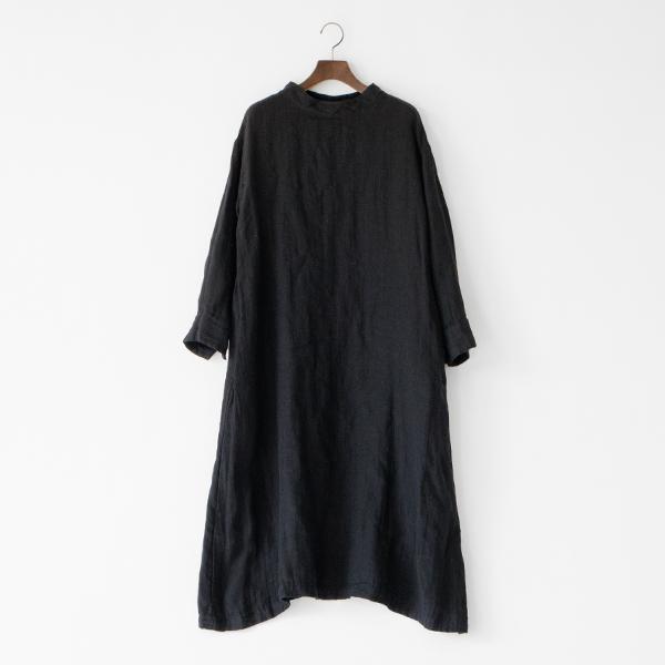 ネンガーゼスタンドネックドレス BLACK