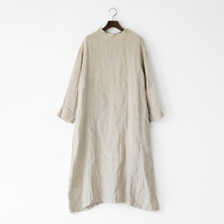 LINEN GAUZE STANDNECK DRESS