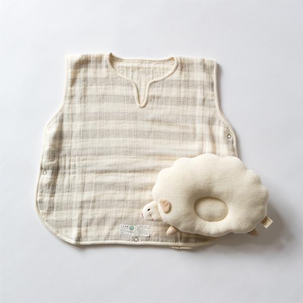 スリーパーとひつじの枕のセット(グレー)
