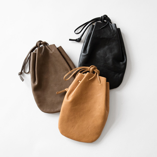 VEGETABLE HORSE LEATHER / DROP SHAPE POUCH S(巾着バッグ)