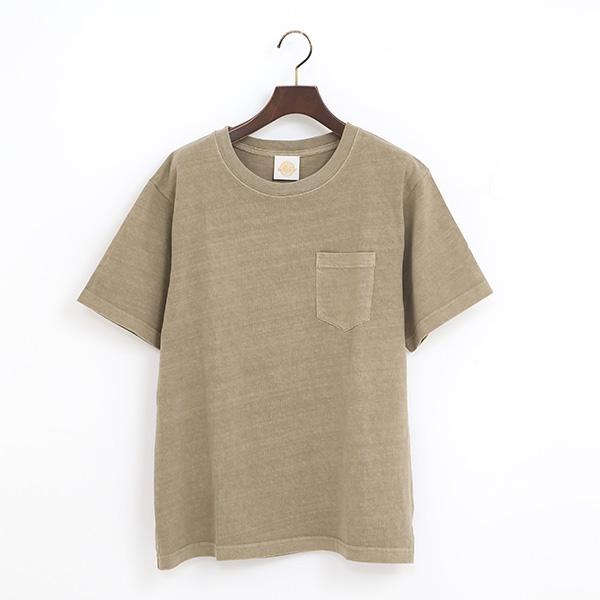PIGMENT DYED ポケット付ショートスリーブTシャツ(BEIGE)