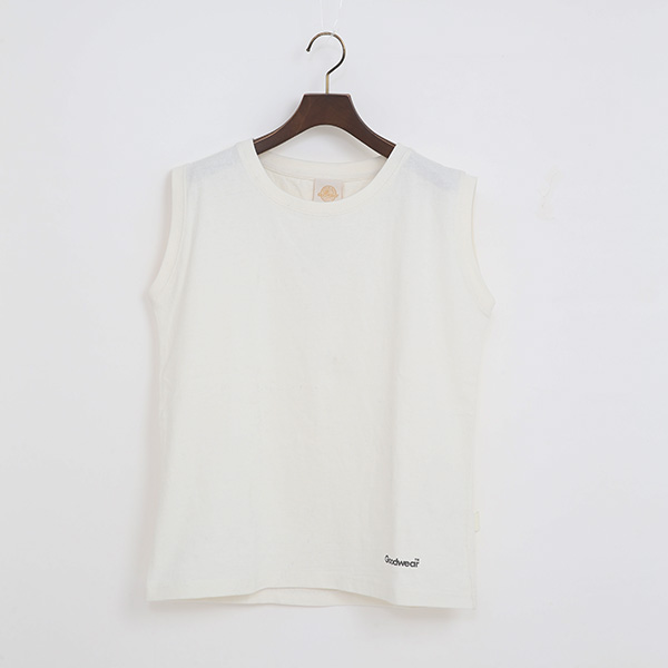 PIGMENT DYED ノースリーブTシャツ(WHITE)