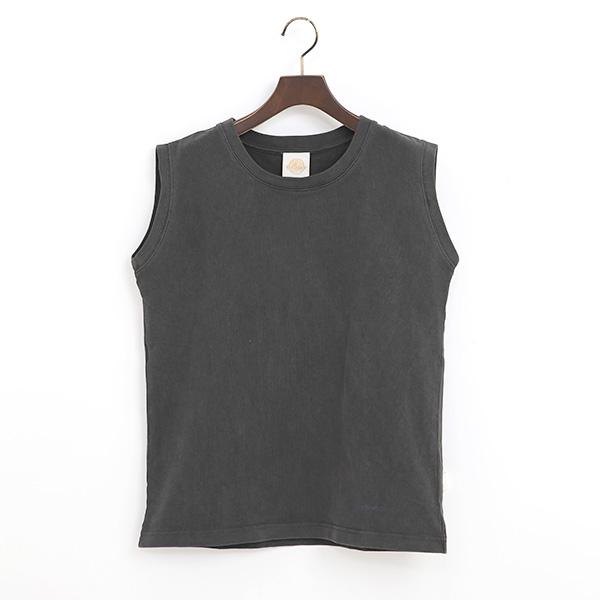 PIGMENT DYED ノースリーブTシャツ(BLACK)