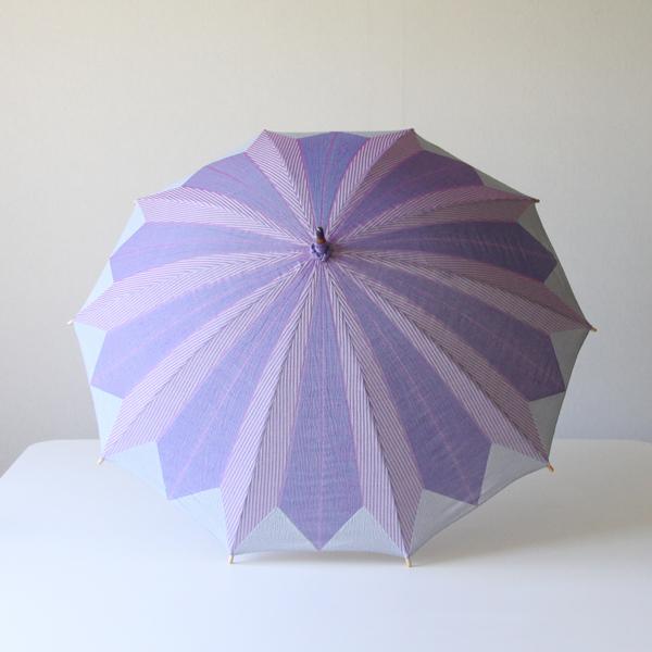 輪切りにしたオクラをモチーフに、見る人までもその綺麗さにうれしくなるような日傘です
