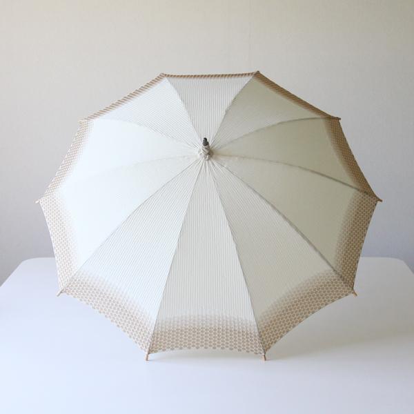 傘生地の縁から内側に向かって水玉模様のジャガード織りがグラデーションが美しい日傘です