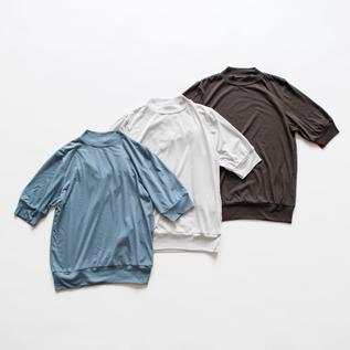 サイロプレミアムヌーディ天竺 5分袖モックネックTシャツ