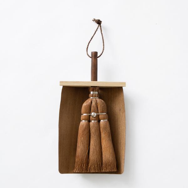 小箒と天然木ちりとりセット
