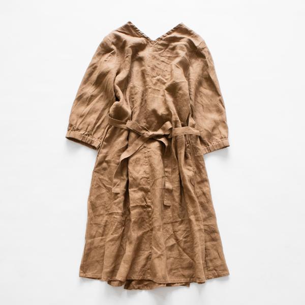 リネンホームドレス(割烹着)ビスキュイ