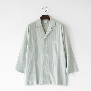 男女兼用 七分袖パジャマシャツ ミントグレー