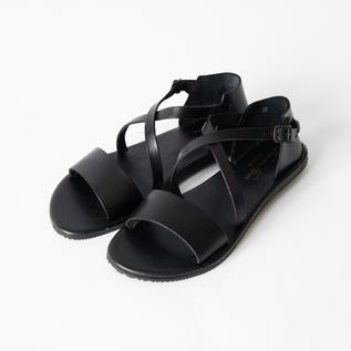 Leather sandals W0162 NERO