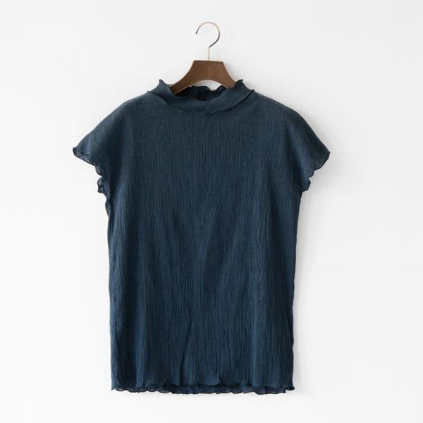 コットンクレープシャツ(NAVY)