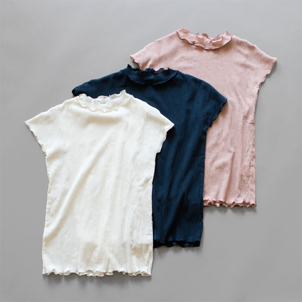 コットンクレープシャツ(OFF WHITE、NAVY、PINK BEIGE)