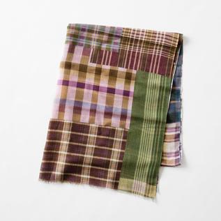 Cotton linen stole Green Brown Purple