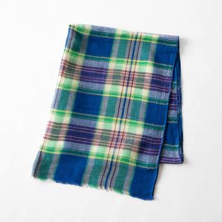 Cotton linen stole BLUE GREEN