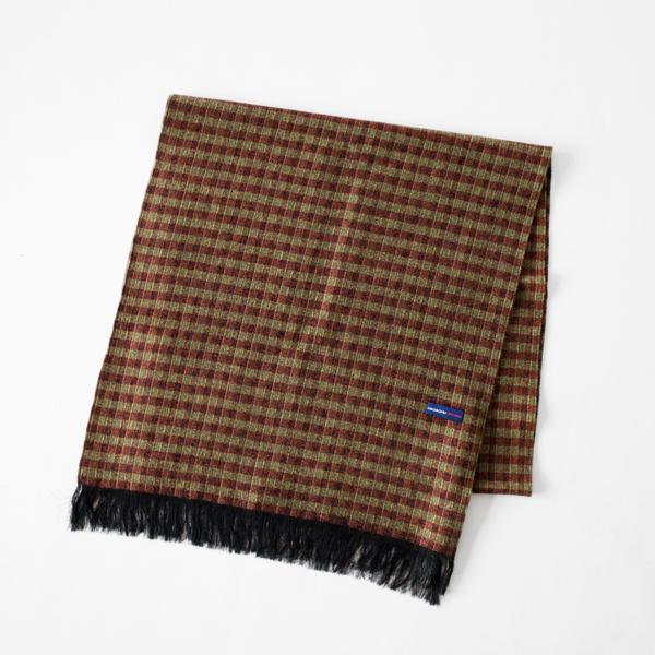 シルクウール紗織りストール(BROWN GREEN)