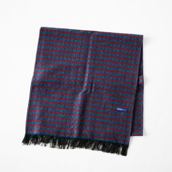 シルクウール紗織りストール(BLUE RED)