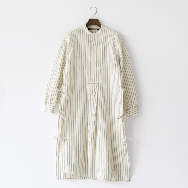 ウールリネン フレンチボサムロングシャツ(WHITE×NAVY)