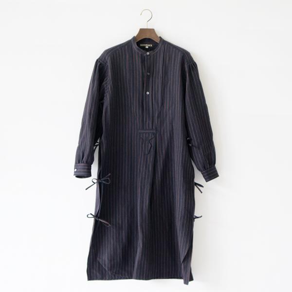 ウールリネン フレンチボサムロングシャツ(NAVY×BROWN)