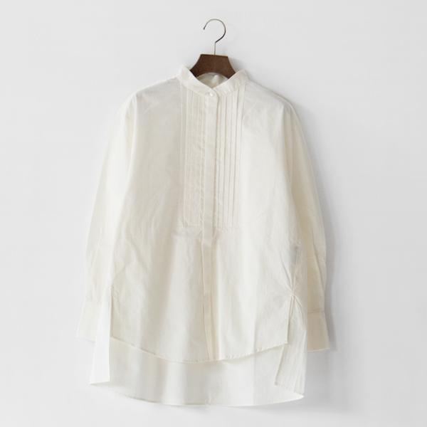 綿ウールピンタックシャツ(OFF WHITE)