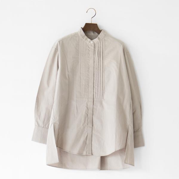 綿ウールピンタックシャツ(BEIGE)