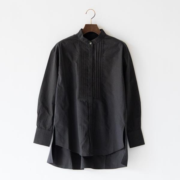 綿ウールピンタックシャツ(CHARCOAL)