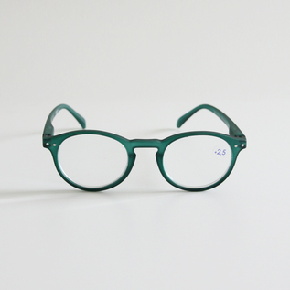 READING GLASSES A GREEN CRYSTAL