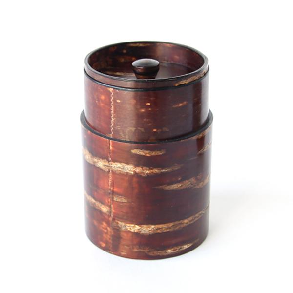 茶筒(中長) 無地皮 蓋を外した様子