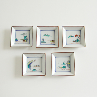 山水絵替り角小皿 5枚