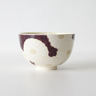 Green tea bowl Flower Shiragiku