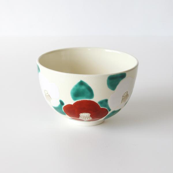 抹茶碗 彩紅白椿