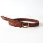 ベルト 9plate weave edge braid belt-brown