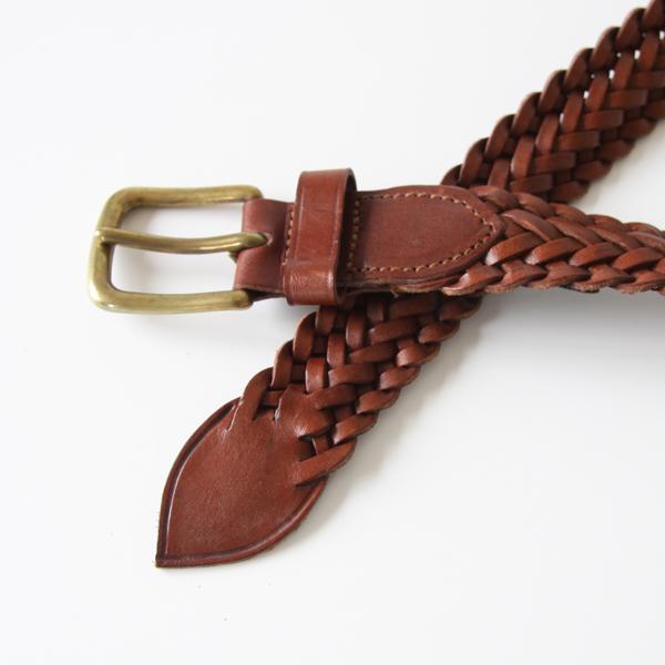 9plate weave edge braid belt-brown