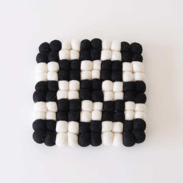 ノルディック ポットマット(B ブラック×ホワイト)