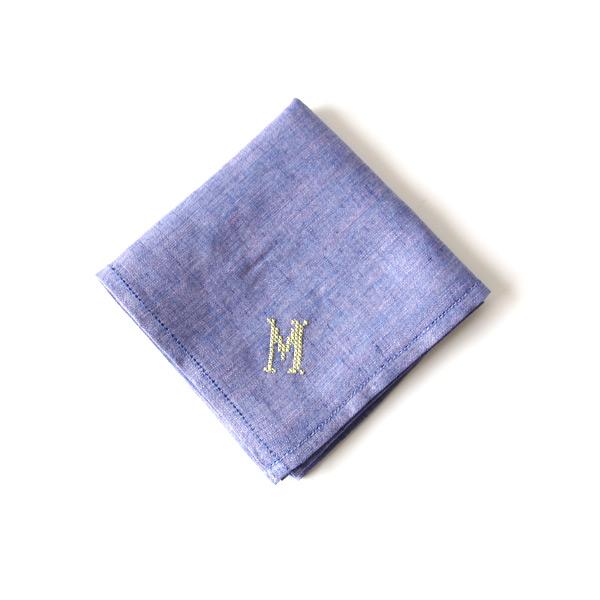 イニシアル刺繍ハンカチ ブルー(クロス)M