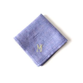 イニシアル刺繍ハンカチ ブルー(クロス)
