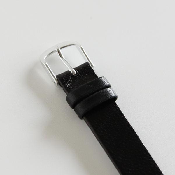 15mm幅ベルト 一重巻き ゴートベルト黒/縁返し