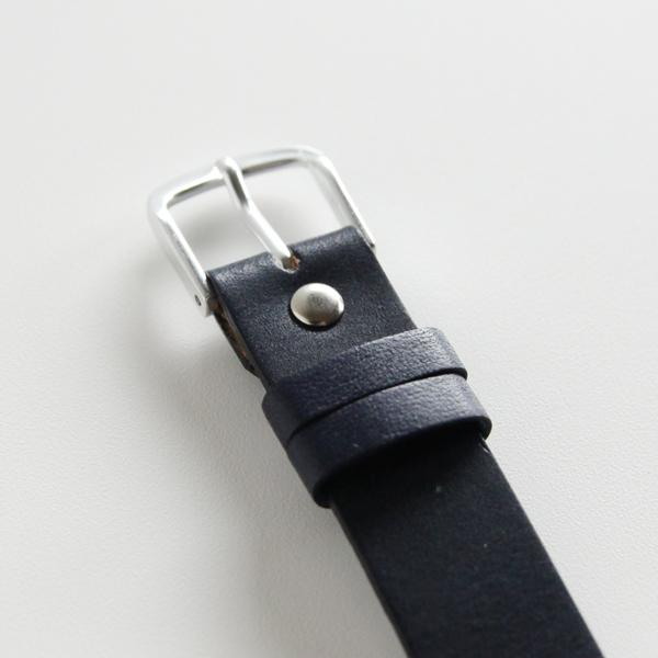 15mm幅ベルト 一重巻き 牛革/紺