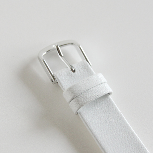 15mm幅ベルト 一重巻き ゴートベルト白/縁返し
