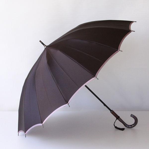 長傘「かさね」・濃いブラウン/アッシュピンク