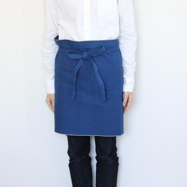 カフェエプロン(コットン帆布)藍
