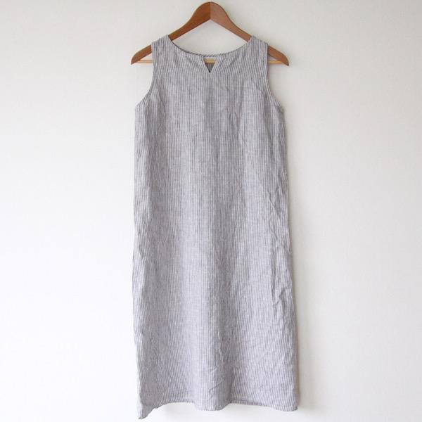 【別注】リア ノースリーブナイトシャツ ハーフ グレーホワイトストライプ