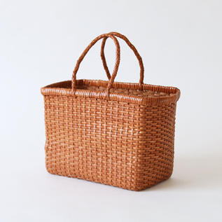 Leather mesh tote Small Tan